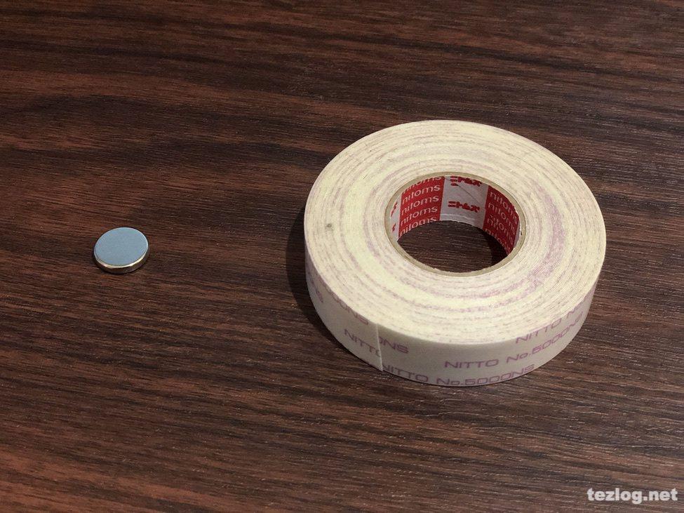 ネオジム磁石とニトムズ はがせる両面テープ 強力接着用