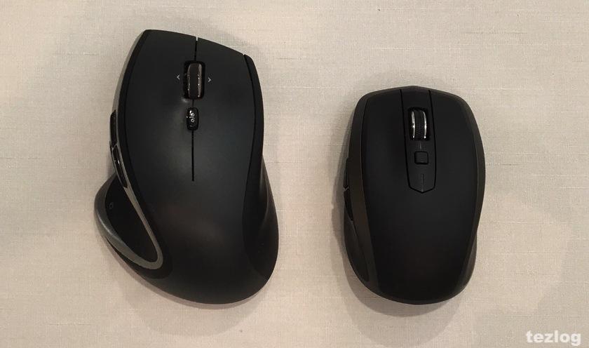 logicool MX1500 MXAnywhere2 ワイヤレスモバイルマウスとm950tのサイズ比較