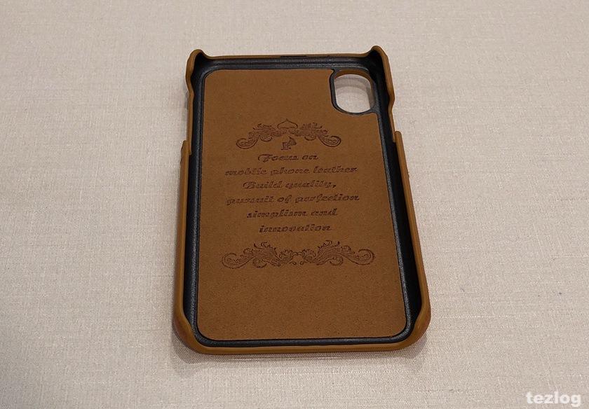 iphone X ケース 背面にカードが2枚入るレザー調ケース