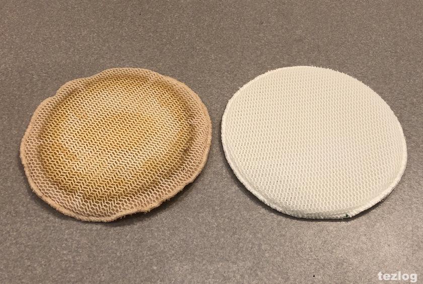 加湿空気清浄機 フィルター FE-ZGV08 5年使用したものと新品の比較