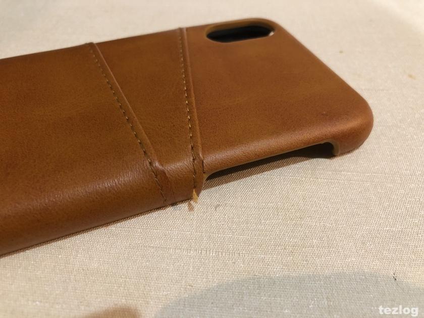 iphone X ケース 背面にカードが2枚入るレザー調ケース 糸がほつれてきた