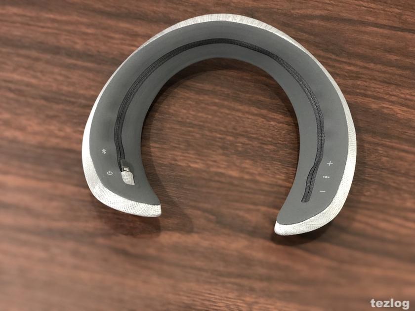 Bose ウェアラブルスピーカー SoundWear Companion ヘザーグレーのカバーを装着
