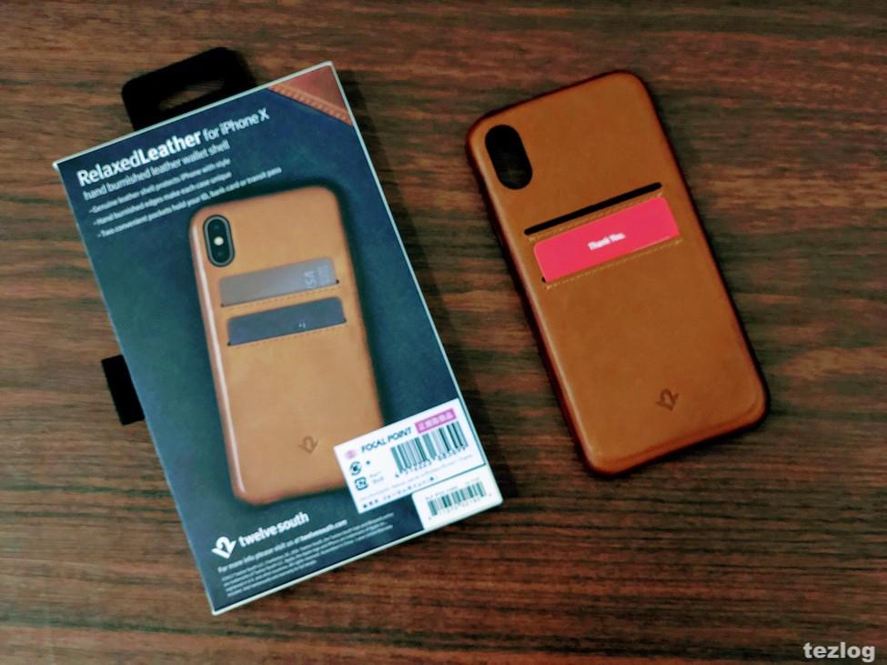カードが2枚入る本革iPhone Xケース Twelve South Relaxed Leather for iPhoneX パッケージと本体