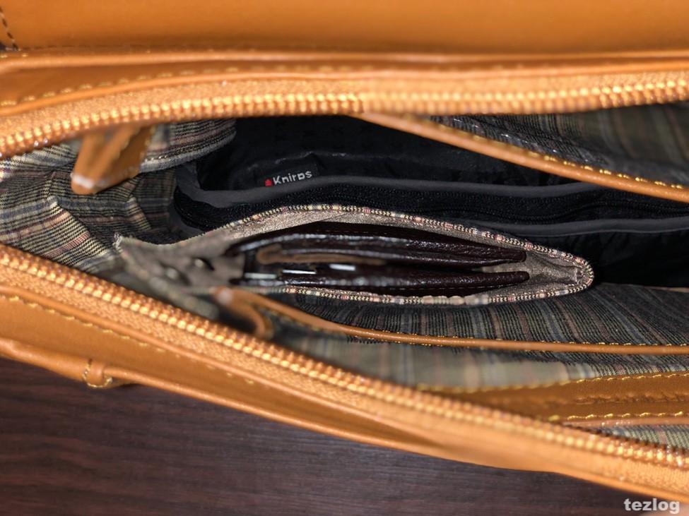 MOTHERHOUSE Zadan Messenger バッグ 中の財布が入るポケットのアップ2