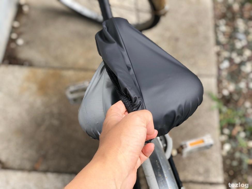 雨対策サドルカバー めくりなはれ 実際に自転車に付けて使い方を紹介 2