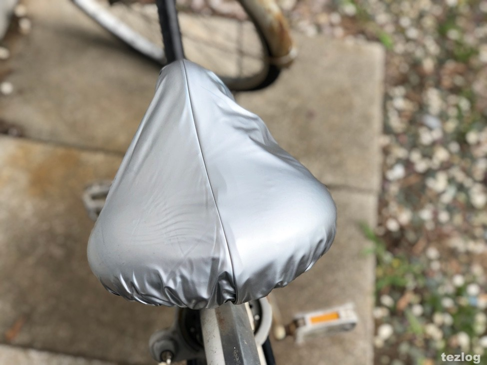 雨対策サドルカバー めくりなはれ 実際に自転車に付けて使い方を紹介 4