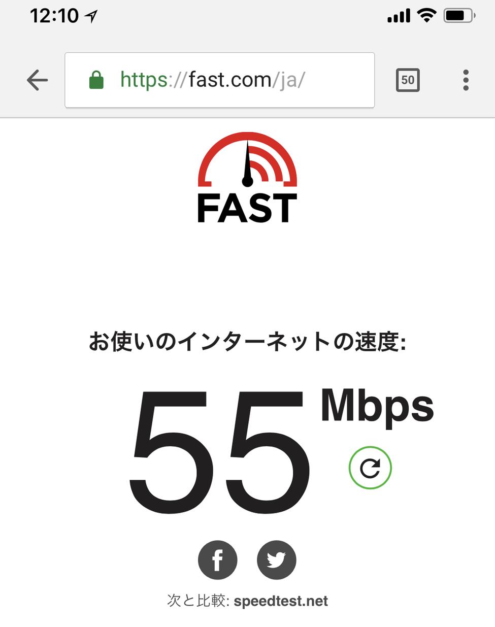 WifiレンタルどっとこむでレンタルしたWi-FiルーターSoftbank 303ZTでの通信速度測定結果