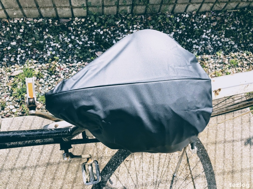 自転車のサドル 雨対策サドルカバー めくりなはれ 取付後
