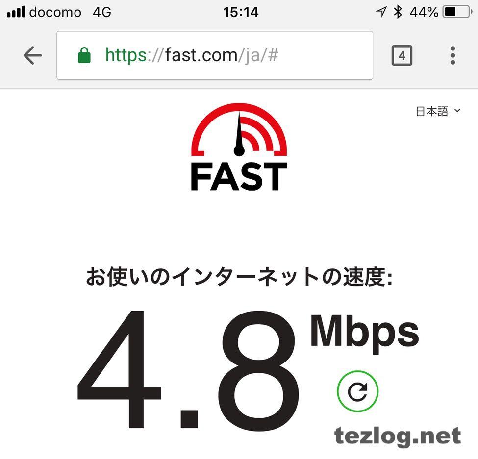 楽天モバイルの平日15時の通信速度 4.8Mbps