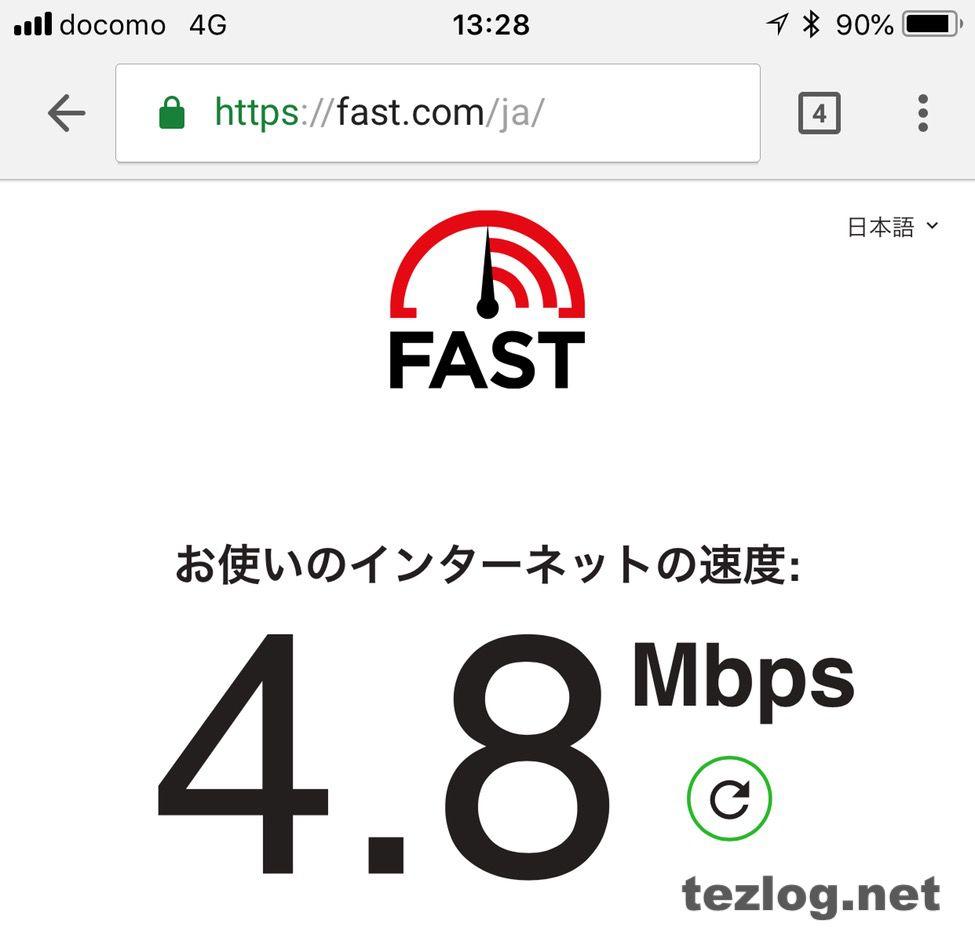 楽天モバイルの平日13時の通信速度 4.8Mbps