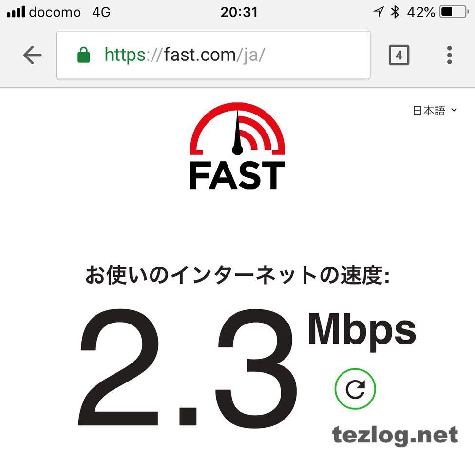 楽天モバイルの平日20時の通信速度2.3Mbps