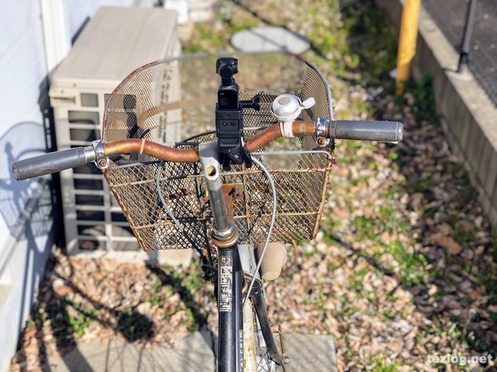 OsmoPocketを自転車に取付け