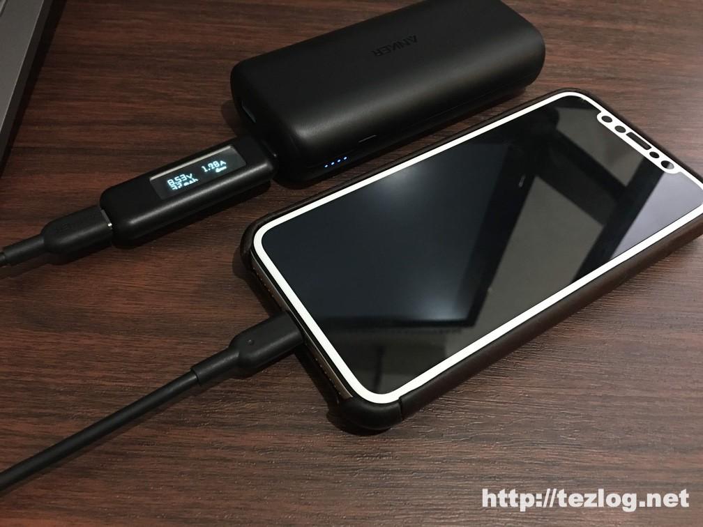 Anker PowerCore 10000 PDでiPhone Xを充電時の出力を測定
