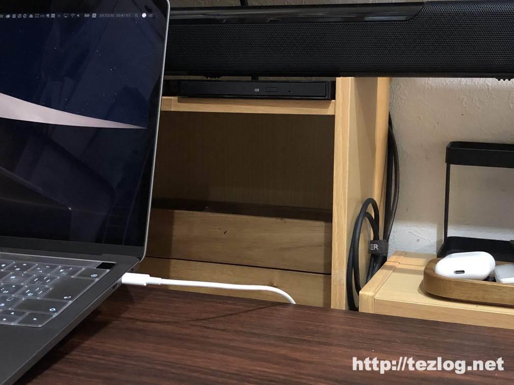 IO-DATA USB-C対応のポータブルブルーレイドライブ BRP-UT6CKとAmazonベーシック USB-C to Micro USB-B 3.1gen 0.9m ブラック 収納時