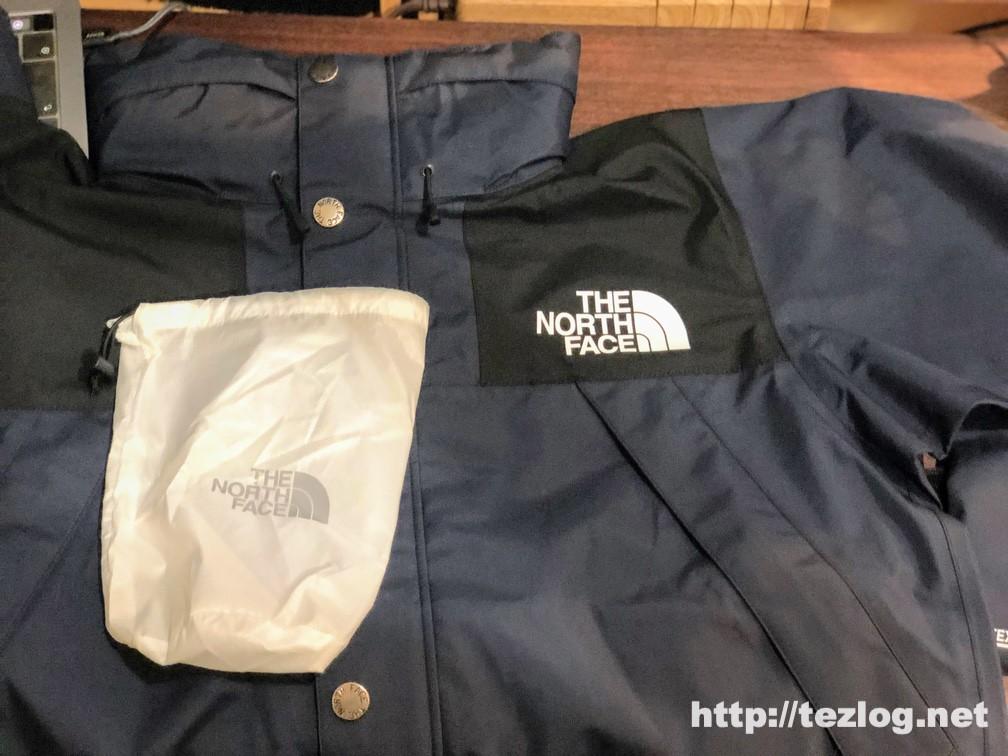 ノースフェイス マウンテンレインテックスジャケット NP11914と付属のポーチ