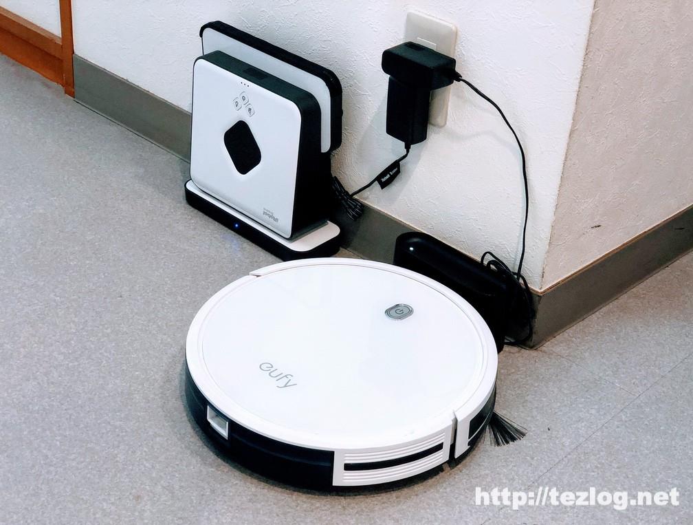 床拭きロボット ブラーバ380j とお掃除ロボット Eufy Robovac 11S の収納時のサイズ比較