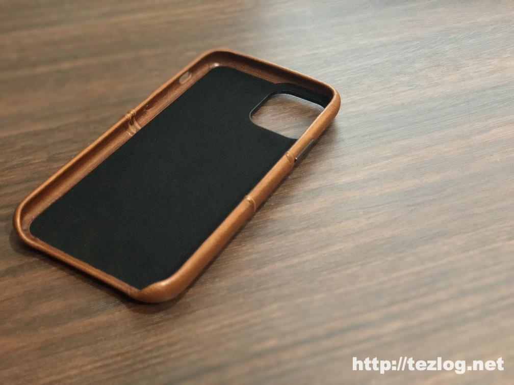 TENDLIN iPhone 11 Pro 用のカード入れ付きレザー調ケース 内側