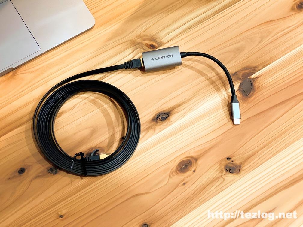 LENTION USB C 有線LAN 変換アダプター ギガビットイーサネットにLANケーブルを繋ぐ