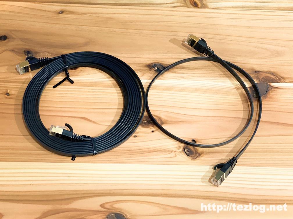 サンワサプライ LANケーブル CAT7 KB-FLU7 0.5mと3m