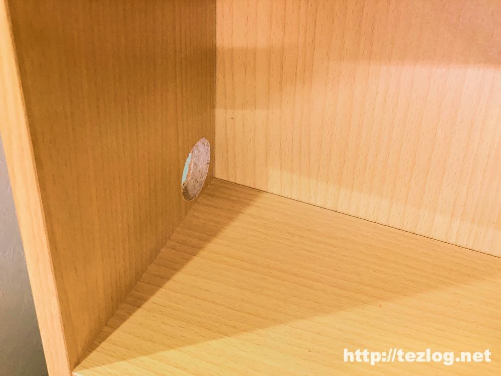 NESHEXST バイメタルホールソー を使用して穴を開けた棚