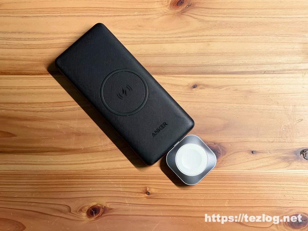 Satechi USB-C Apple Watch 充電ドックをAnker PowerCore Ⅲ 10000 Wirelessに取り付け