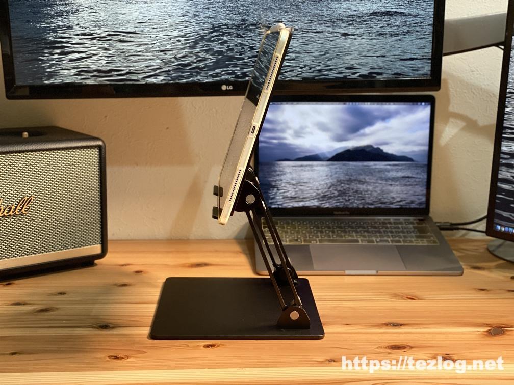 Klearlook iPad Proスタンド 結構高めにした状態 動画を見る時なんかに。