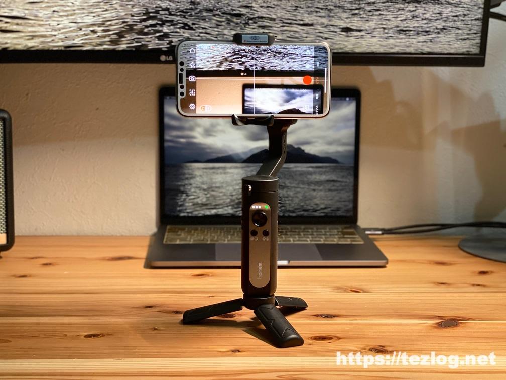 Hohem スマホジンバル iSteady X 付属のミニ三脚で自立させての撮影 横向き