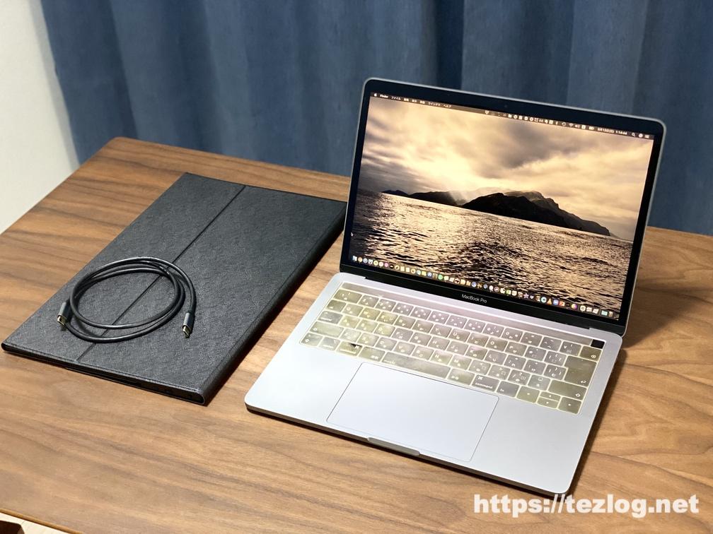 AUZAI 15.6インチ ポータブルモニター ME16 とMacBook Proを接続してデュアルディスプレイに。