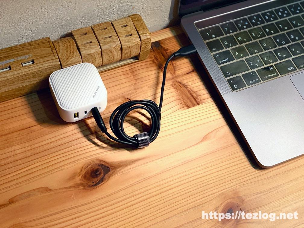TUNEMAX 66W GaN 世界最小級の66W 3ポート充電器でMacBook Proを充電