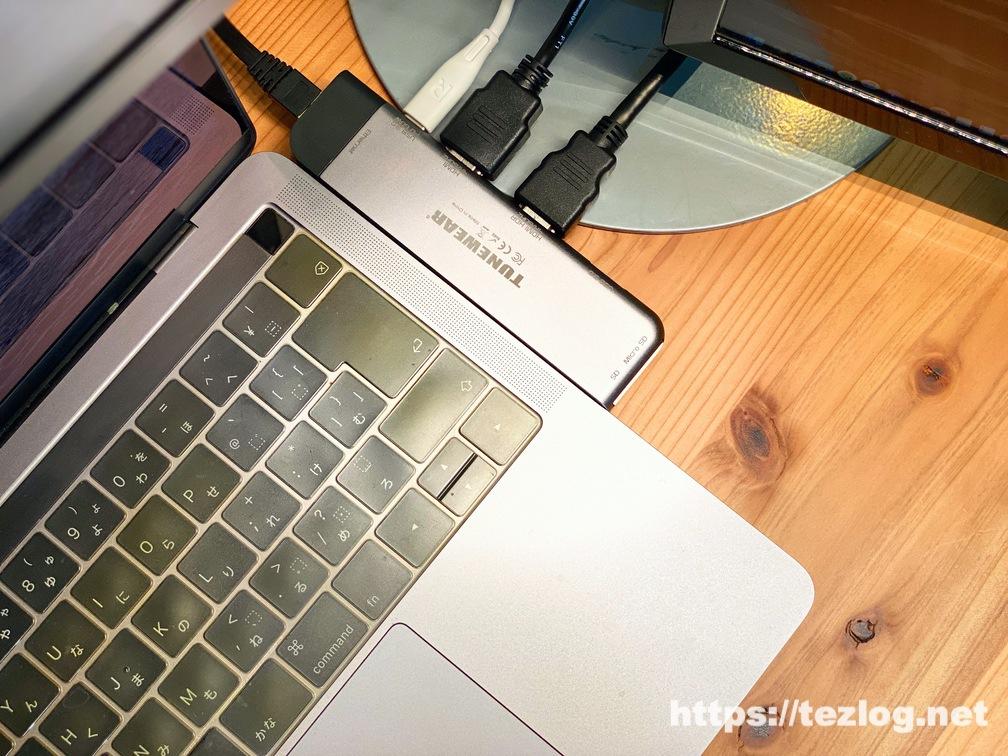 TUNEWEAR ALMIGHTY DOCK MacBook Pro/Air 用7in1USB-Cハブを使用してトリプルディスプレイ構築と有線LAN接続