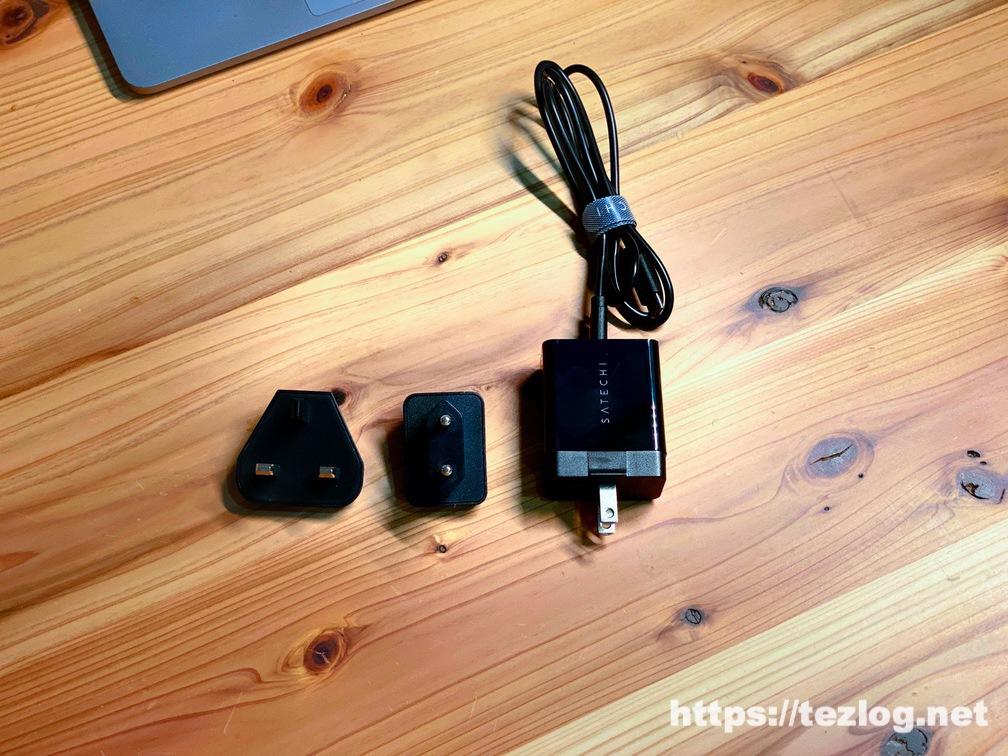Satechiトリオ ワイヤレス 充電パッド 付属の充電ケーブルとアダプタ