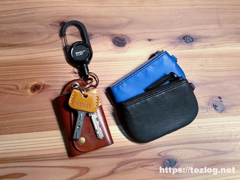 TAVARAT 姫路レザーのキーカバー付きの鍵を付けたイルビゾンテの革のキーケース・ TAVARAT 鹿革の小銭入れ Jali