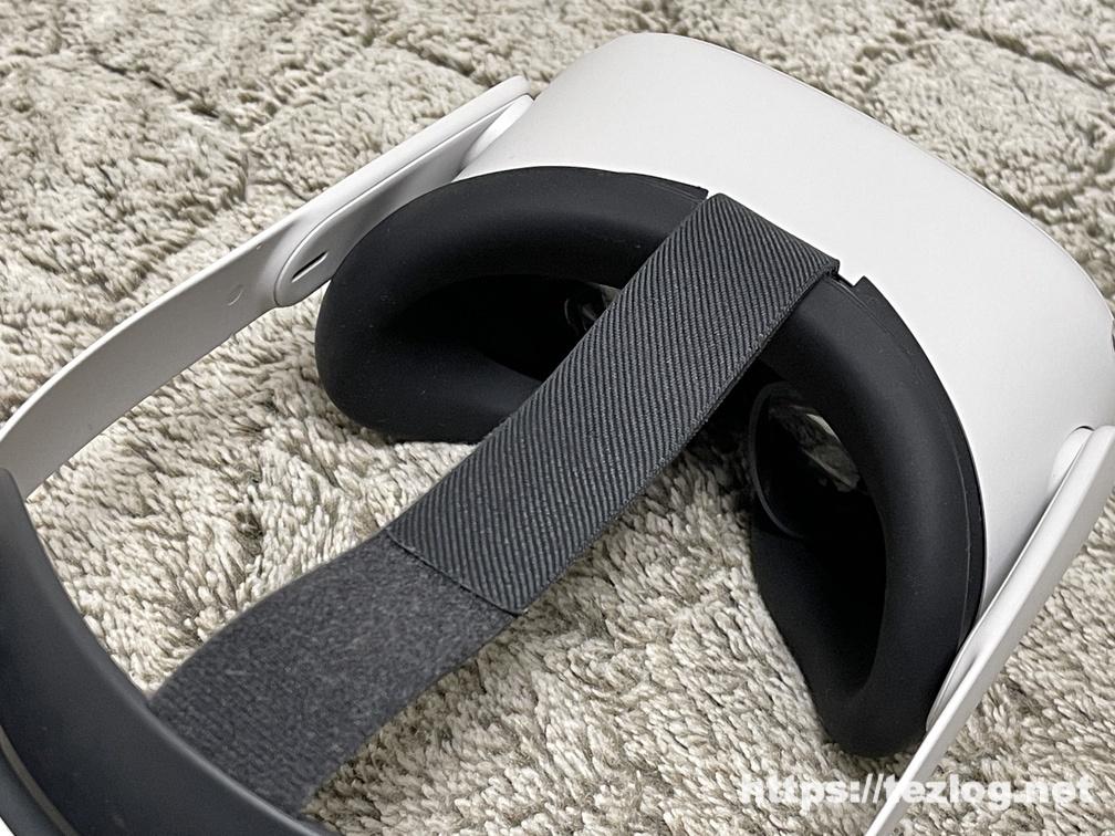 Oculus Quest 2 シリコンカバーを付けた接頭部を本体に装着