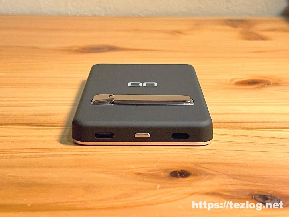 CIO MagSafe対応モバイルバッテリー CIO-MB5000-MAG-BK 底面 電源スイッチとUSB-CポートとLightningポート