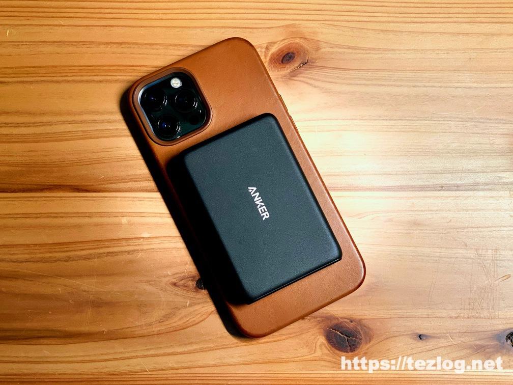 Anker PowerCore Magnetic 5000をiPhon 12 Pro Maxにマグネットで装着。ワイヤレス充電。