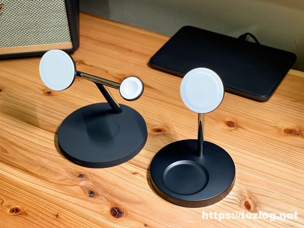 Belkin MagSafe 3-in-1磁気ワイヤレス充電器と2-in-1磁気ワイヤレス充電スタンドを比較