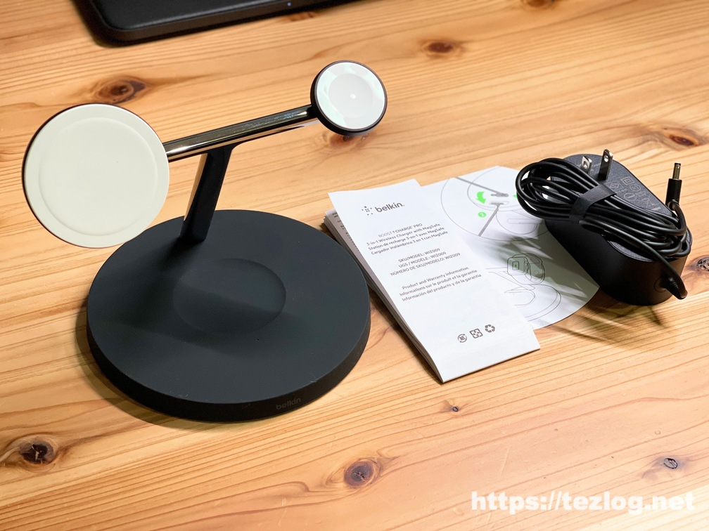 Belkin MagSafe 3-in-1磁気ワイヤレス充電スタンドと付属品一式