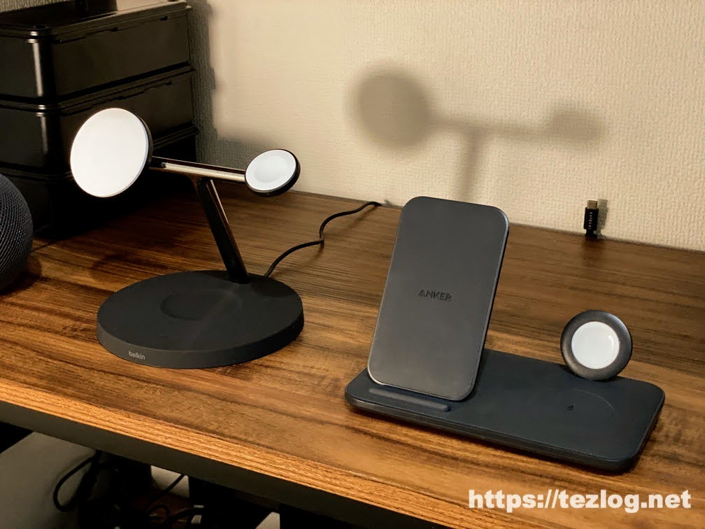 Belkin MagSafe 3-in-1磁気ワイヤレス充電器とAnler PowerWave+ 3-in-1 stand with Watch Holderを比較