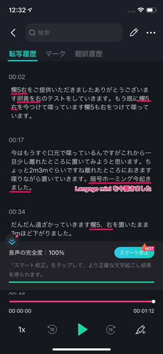Langogo mini を装着してるiPhonerでNotta アプリを使用して書き起こしと添削。