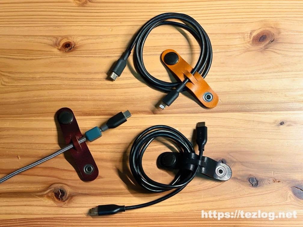 AVARAT 姫路レザー コードクリップ Tps059 キャメル・ ダークブラウン・ブラック 1年以上使用してのエイジング。