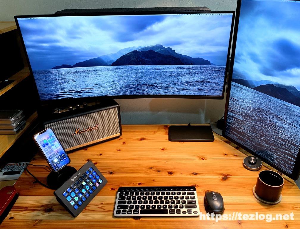 Philips Hue LEDテープライト リボンライトプラス デスク天板の縁に貼っての使用風景 点灯前