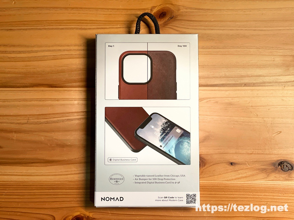 NOMAD Modern Leather Case iPhone 13 Pro Rustic Brown パッケージ裏面